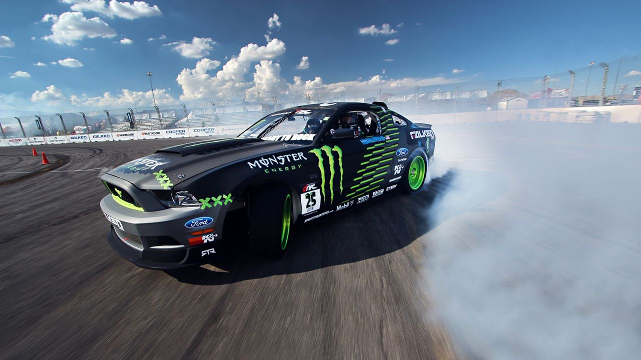 competition, drift, sports car, mustang, clouds, ford, gt, smoke