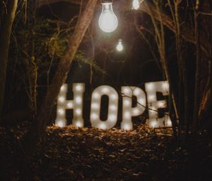 hope, words, lamp, forest
