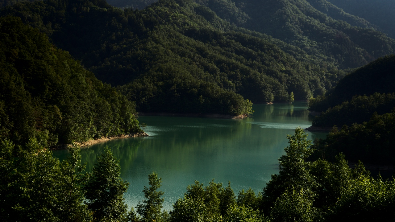 lake, mountains, trees, landscape, italy