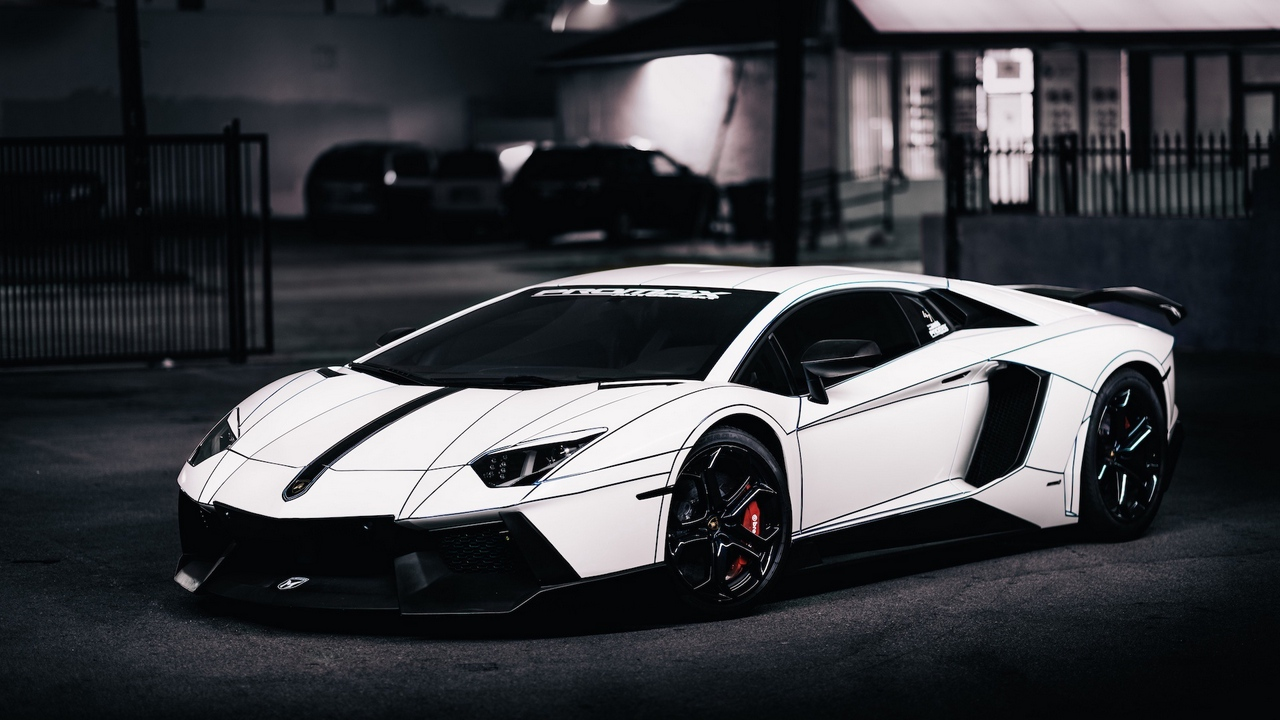 lamborghini, aventador, lp700-4, white, side view, 2014, tron tuning