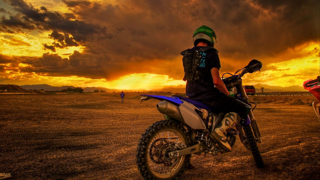 motorcyclist, motorcycle, sunset