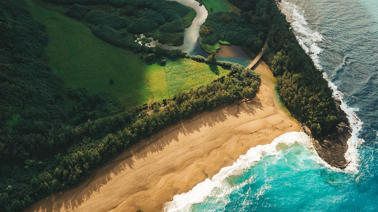 ocean, beach, aerial view, kauai, hawaii