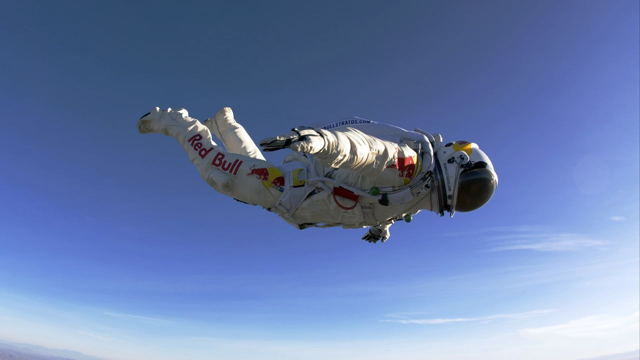 paratrooper, red bull, jumping, flying, suit