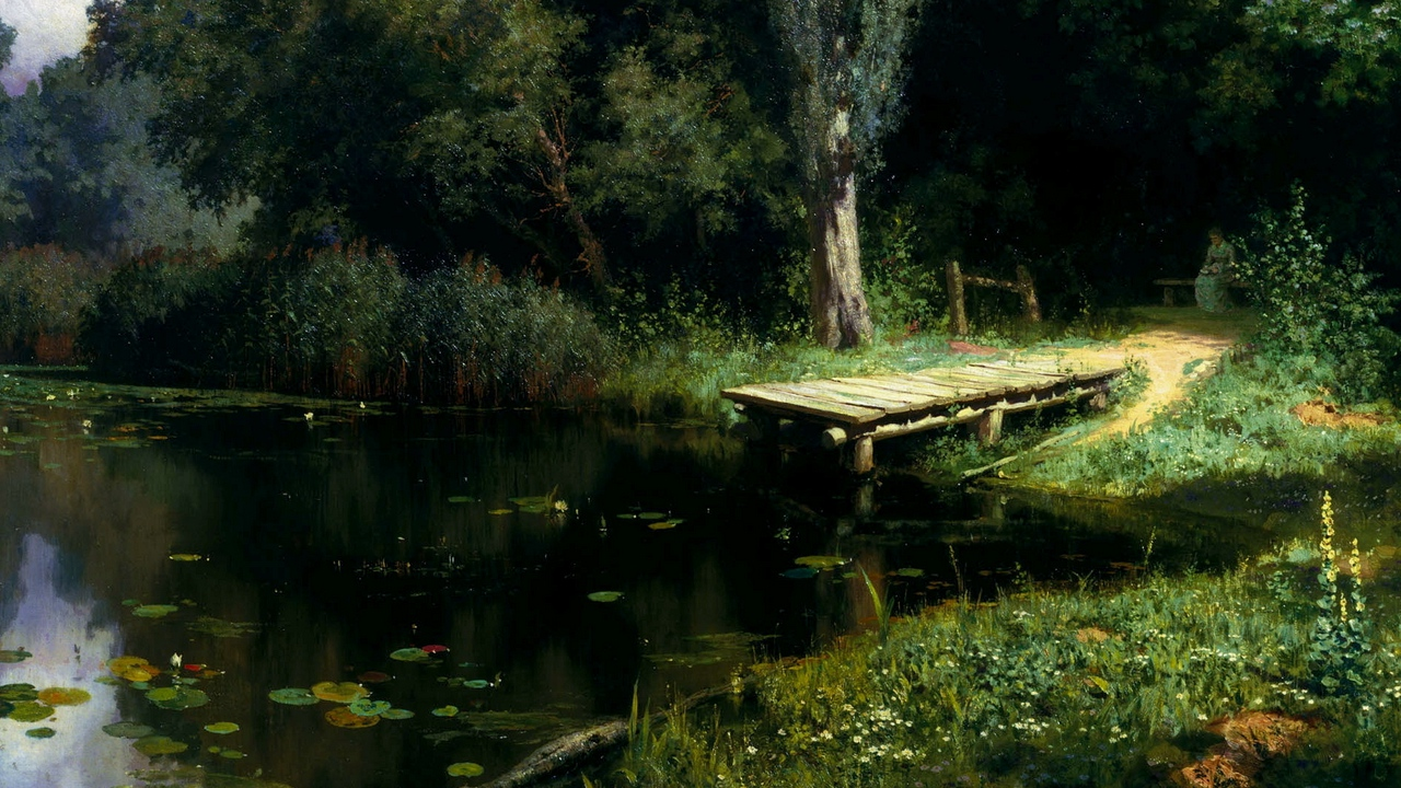 pier, lake, water-lilies, trees, painting, art, polenov, overgrown pond