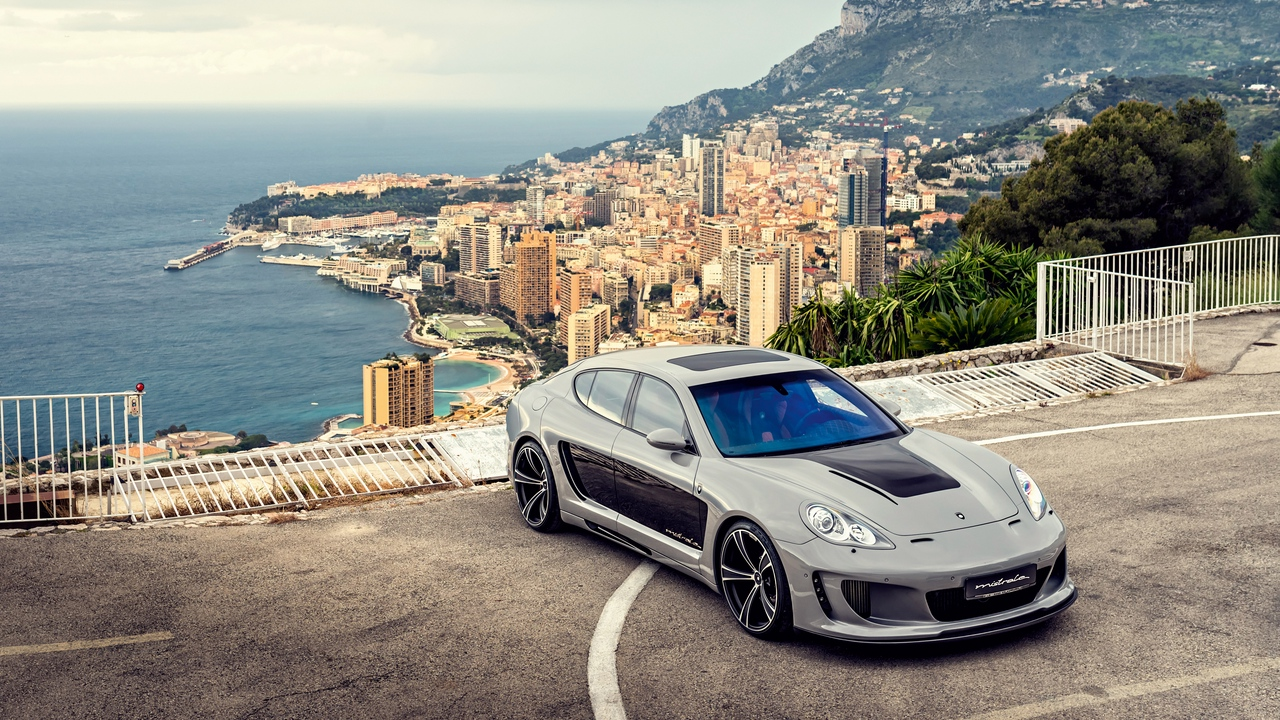 porsche, panamera, top view, car