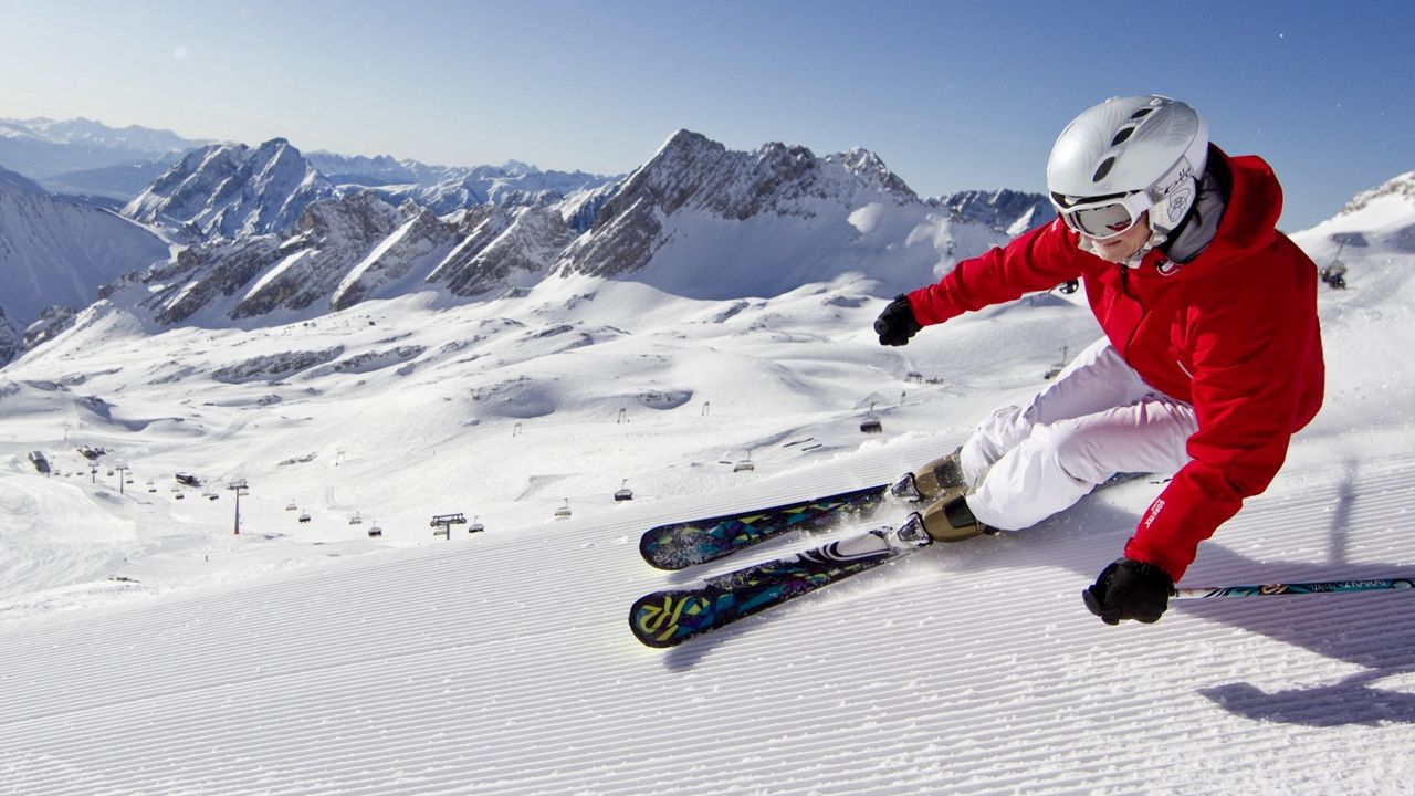 snow, mountains, blue skies, skiing, carving