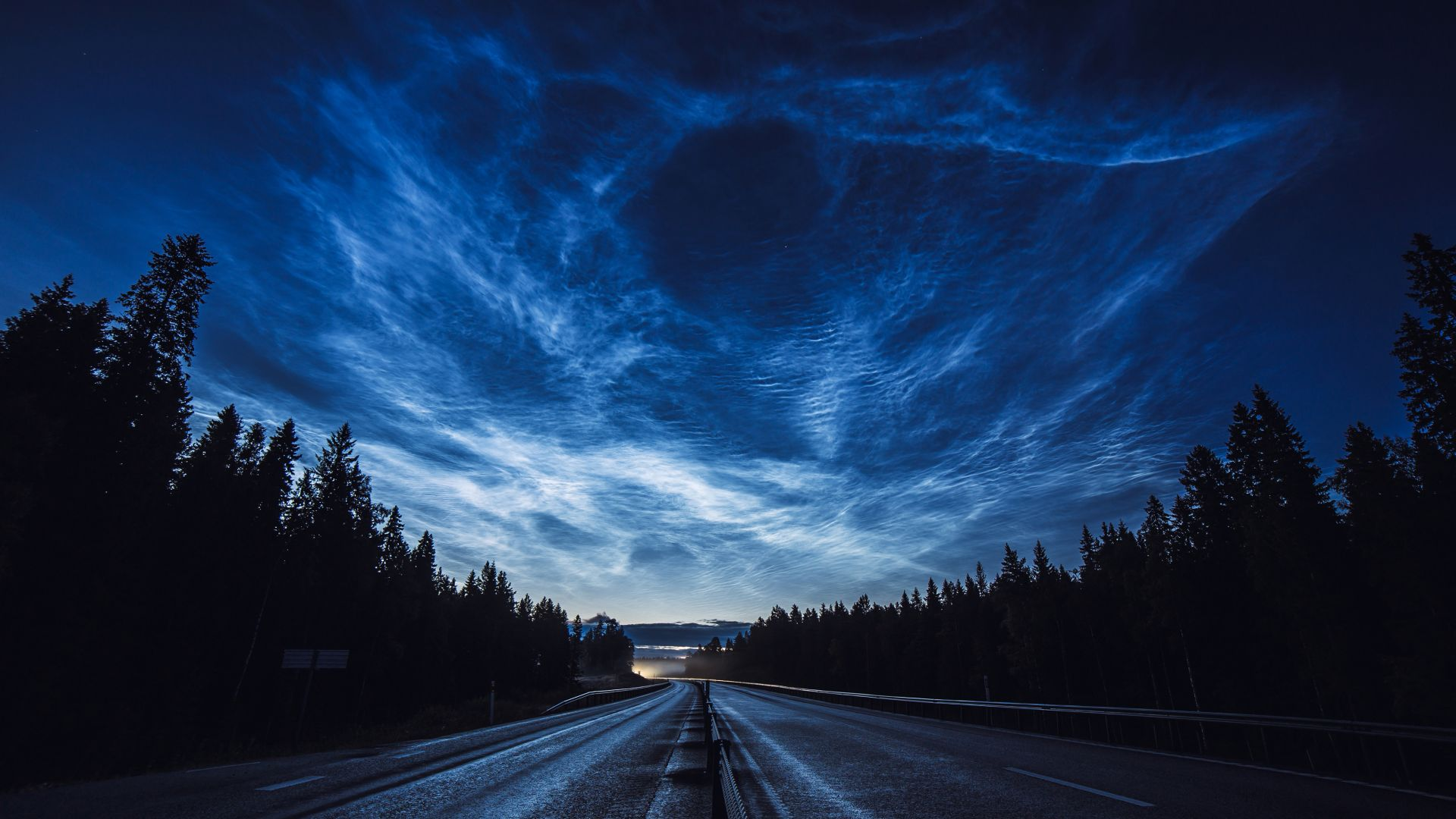 road, night, forest, sky, 4K